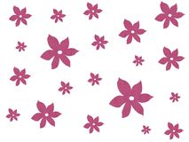 Pink textured flowers. On white Vector Illustration