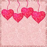 Pink Textured Heart Hanged on Strings Royalty Free Stock Image