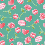 Pink textured vector icons about amorousness and romance. Seamless pattern retro set background of stickers, pins. Patches symbols of lovers. Signs badges rose Stock Photography