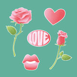 Pink textured vector icons about amorousness and romance. Set of stickers, pins, patches symbols of lovers. Signs badges rose, lip. S, heart and an inscription Royalty Free Stock Photo