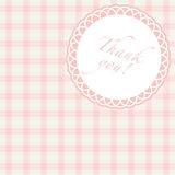 Pink thak you. Thank you note with pink plaid background Royalty Free Stock Image