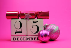 Pink theme save the date white calendar for Christmas Day, December 25. Stock Photo