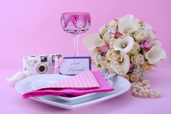 Pink Theme Wedding Table Place Setting. Stock Photo