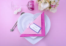 Pink Theme Wedding Table Place Setting. Stock Photos
