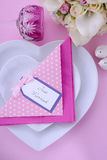 Pink Theme Wedding Table Place Setting. Stock Image