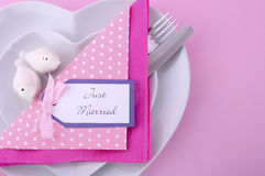 Pink Theme Wedding Table Place Setting. Royalty Free Stock Photography