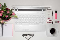 Pink things to use in an office Royalty Free Stock Photos