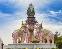Pink three Erawan statues Royalty Free Stock Photography