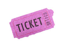Pink ticket on white background. Royalty Free Stock Photo
