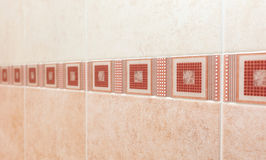 Pink Tile texture background of bathroom Royalty Free Stock Photography