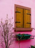 Pink timber frame house in Alsace Stock Photos