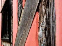 Pink timber Wall of Medieval English Cottage Royalty Free Stock Images