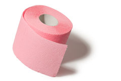 Pink toilet paper. On white background stock photo