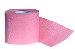 Pink Toilet Paper. Isolated on white Stock Image