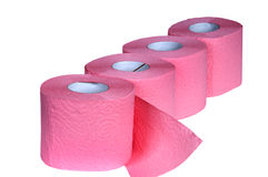 Pink Toilet Paper. Isolated on white Royalty Free Stock Images