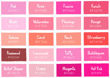Pink Tone Color Shade Background with Code and Name Royalty Free Stock Photography
