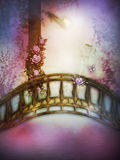 Pink tone with path in misty garden Royalty Free Stock Photo