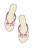 Pink tongs. Vector illustration of beach shoes, EPS 10 file Royalty Free Stock Photography