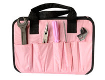 Pink tool bag Royalty Free Stock Images
