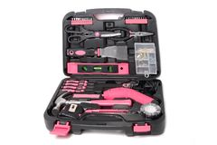 Pink tool set in box Stock Photography