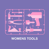 Pink tools. Set for women. plastic model kits for blondes. Vecto Royalty Free Stock Photos
