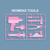 Pink tools. Set for women. plastic model kits for blondes. Stock Photography
