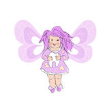 Pink  Tooth Fairy. On white background Royalty Free Stock Photos