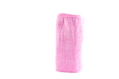Pink towel roll standing vertically. On a white background Stock Image