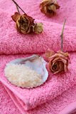 Pink towel with rose Stock Image