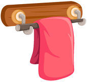 Pink towel on the wooden rack. Illustration of a pink towel on the wooden rack on white stock illustration