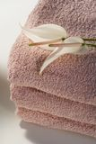 Pink towels and flowers Royalty Free Stock Photography