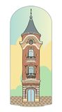 Pink tower. Vector illustration of a vintage tower, file EPS 8 Royalty Free Stock Image