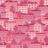 Pink town houses Stock Images