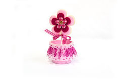 Pink toy flower royalty free stock image