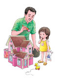 Pink toy house. A father finishing to paint a wooden toy house for his daughter Royalty Free Stock Photos