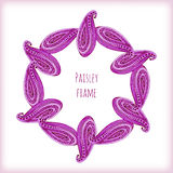 Pink traditional floral frame in indian style with paislay ornament. Vector template with watercolor decoration. Stock Photography