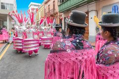 Pink traditional Peruvian costumes Lima. Lima Peru July 2018 on the occasion of the national festival at the end of July the inhabitants of Lima dress in stock photos