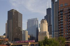 Pink train in downtown Chicago Stock Photos