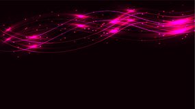 Pink transparent abstract shiny magical cosmic magical energy lines, rays with highlights and dots and light shines by waves on a. Dark background from above royalty free illustration