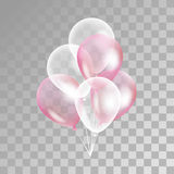 Pink transparent balloon on background. Frosted party balloons for event design. Balloons  in the air. Party decorations for birthday, anniversary, celebration Stock Image
