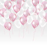 Pink transparent balloon on background. Frosted party balloons for event design. Balloons isolated in the air. Party decorations for birthday, anniversary Royalty Free Stock Photography