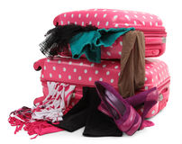 Pink travel suitcase royalty free stock image