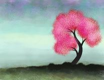 Pink tree. Digital painting of a pink tree in the cold season Royalty Free Stock Photo