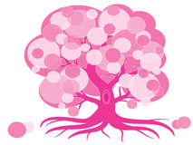 Pink tree. Cute pink tree with roots,isolated royalty free illustration