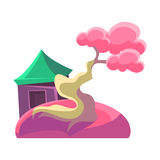 Pink Tree And Building, Bonsai Miniature Traditional Japanese Garden Landscape Element Vector Illustration Royalty Free Stock Photos