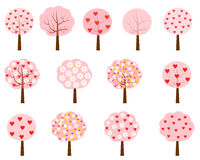 Pink trees with hearts and flowers. Cartoon vector trees with flowers and red hearts royalty free illustration