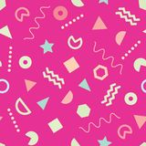 Pink trendy Memphis style seamless pattern with cute geometric shapes stock illustration