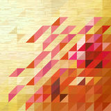 Pink triangle on wooden texture background Stock Photography