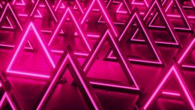 Pink triangular abstract background. Neon lights background. Pattern triangle prisms. Abstract sci fi geometric background.