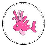 Pink tropical fish isolated on white background. Coral fish cartoon  illustration. Underwater animal handdrawn patch. Aquarium fish drawing. Tropical sea Stock Photos